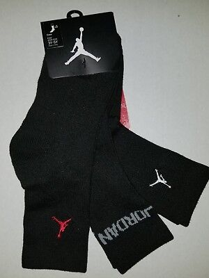 NIKE AIR JORDAN Crew Kids Boys Girls Socks 3 Pack Size 3Y - 5Y
