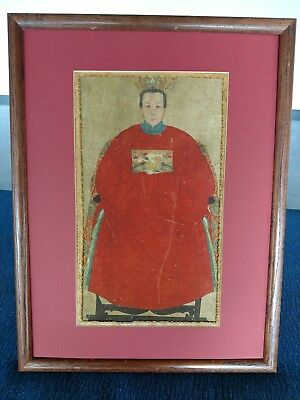 Antique Framed Detailed Hand Painted Chinese Ancestor Portrait On Silk