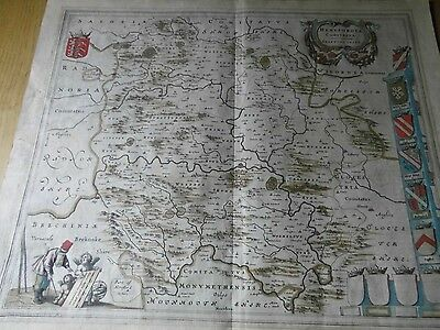 Herefordshire Important Antique Map: C1645 Joan Blaeu- Cromwellian England