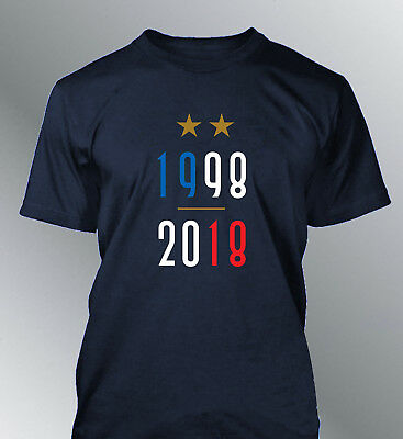 Tee shirt homme FRANCE champion foot coupe monde football championne 1998-2018