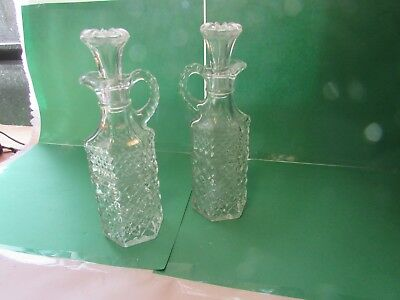 Antique Vintage Crystal Clear Cut Glass Oil or Vinegar Cruet With Stoppers
