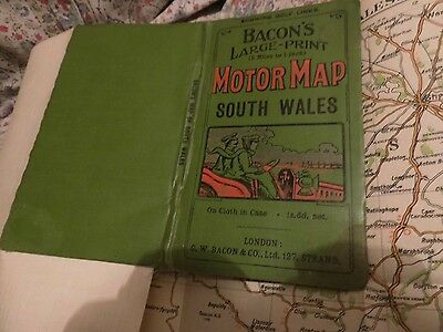 South Wales: Early Motor Map:antique: G.w. Bacon:fine Veteran Car Cover