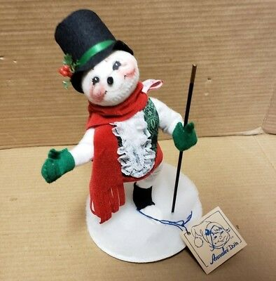 """1994 Annalee Doll 10"""" Snowman With Cane Skating Christmas Decoration"""
