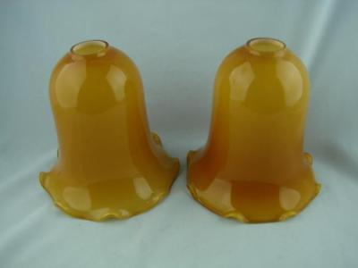 Pair Of Vintage Lamp Shades, Wall Light Shade Amber / Milk Glass 2.8Cm Fitter