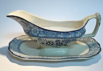 Wood & Sons Woods Ware Gravy Boat with Attached Underplate Blue Wincanton