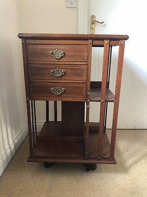 Antique Rotating Book Shelf / Rack With  draws & inlay topDisplay Case Mahogany