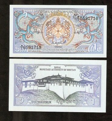 Bhutan 1 Ngultrum P12 A 1986 Bundle Dragon Dzong Unc Money Note X 50 Pcs Bill
