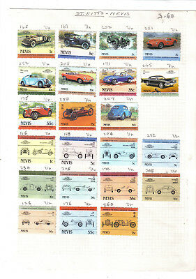 (AP39)Stamps.Nevis.Leaders of the World Automobiles.22 stamps on old album page.