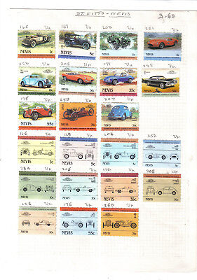 Stamps.Nevis.Leaders of the World Automobiles.22 stamps on old album page.