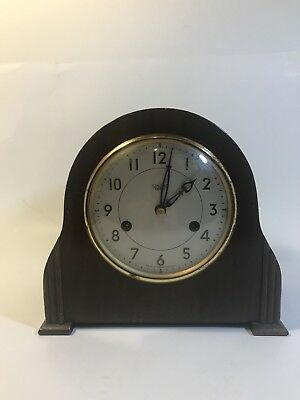 Antique Mantle Clock Smiths Enfield Britain Wood Table Top