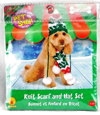 Rubies Costume Company Knit Winter Scarf & Hat Set for Pet Size S/M Free Ship