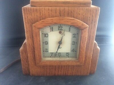 Rare Art Deco Light Oak Wooden English Smiths Alarm Clock UnTested Smith Sectric