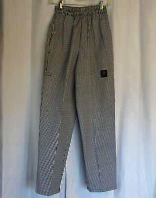 """NEW Chef Pants - XS 24""""-26"""" Black White CHEF REVIVAL Hounds Tooth, Baggy"""
