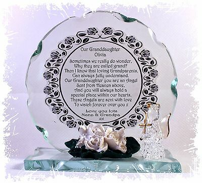 Grandparents Round Cut Glass Plaque Unique Gift Limited Edition #8