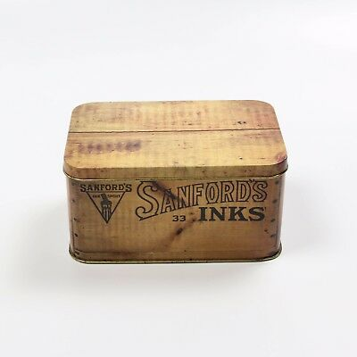 Sanford Inks Wood Crate replica Tin 1980s Made in England Collectors edition lid