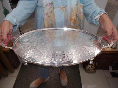 Superb Viners Silver Plated Tray Elegant Ball & Claw Feet Lovely Condition