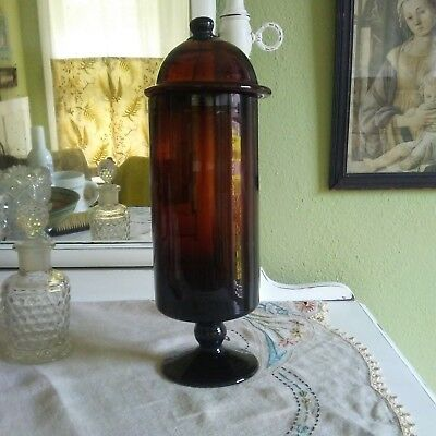 Antique Mouth Blown Brown Glass Apothecary Jar with Lid and Pontils!