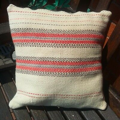 Cream Welsh wool 19th century narrow loom cushion cover upcycled blanket