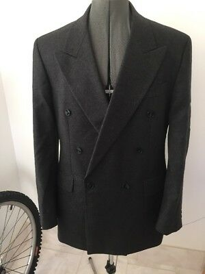 YSL Stylish Quality Blazer Jacket 42 R Double Breasted Pure New Wool Grey