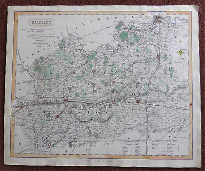 English county map of Surrey by J & C Walker c1840 a good size 325 x 385 mm