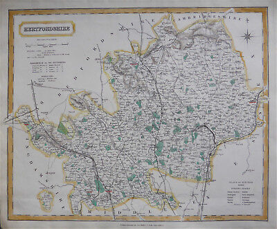 English county map of Hertfordshire by J & C Walker c1840 size 325 x 385 mm