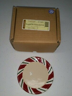 "4 Longaberger Pottery Peppermint Twist Coaster Set 4"" Round In Box #31875"
