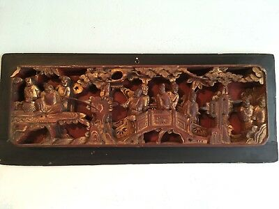 Antique Asian Oriental High Relief Wood Carved Gilt Panel Estate Find !!