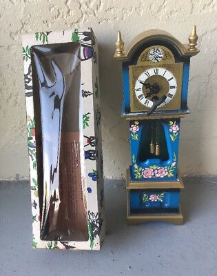 "VINTAGE TEMPUS FUGIT 10.5"" MINI GRANDFATHER KEY WIND CLOCK WEST GERMANY *read*"