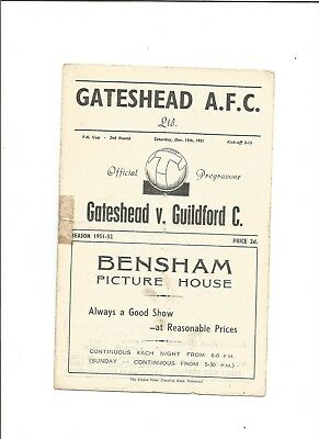 GATESHEAD v GUILDFORD CITY (F.A Cup) 1951/52