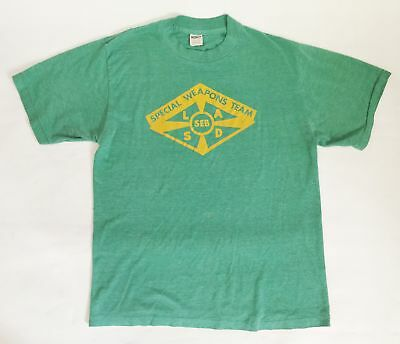 Vintage Men Collegiate Pacific Special Weapons Team Shirt Tshirt Green XL USA