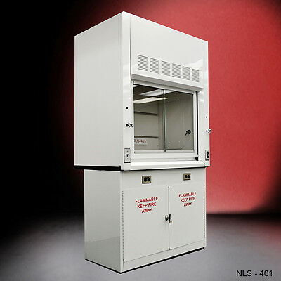 NEW 4' Chemical  Fume Hood W/ Flammable Base Cabinets --