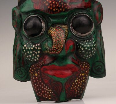 Vintage wood mask Tribal wood carving India's Decorative wall hanging ornament