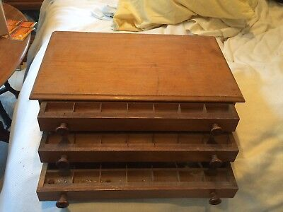 Antique Oak Spool Chest / Thread Cabinet