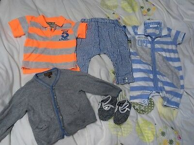 Baby Boys 6-9 designer Clothes Bundle. Summer, Holiday. cardigan, shoes, romper