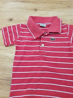 Genuine kids/boys Lacoste polo size 2  (6-12 months) red/white