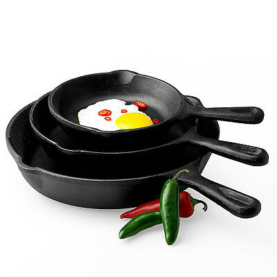New Pre-Seasoned Cast Iron 3 PIECE FRY PANS SKILLET SET STOVE OVEN Cookware Pots