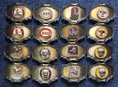 Lot Of 16 VINTAGE Sports Teams 1978 Raintree Brass Collectible Buckles #165