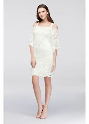 6afaaddd74990 Signature Robbie Bee Womens Lace Overlay Cold Shoulder Lined Dress White  99