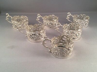 SOLID SILVER SET OF 6 TOT/ CUP/ GLASS HOLDERS, by WILLIAM COMYNS, BIRM 1905,