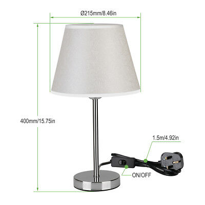 LE Table Lamp,Bedside E27 Bulb Base Desk Lamp,Plating White Chrome Metal Stand