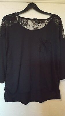 07e76e6491dee WALLIS NAVY spot and cream BARDOT TOP SIZE L 16 18 BNWT TOP OFF ...
