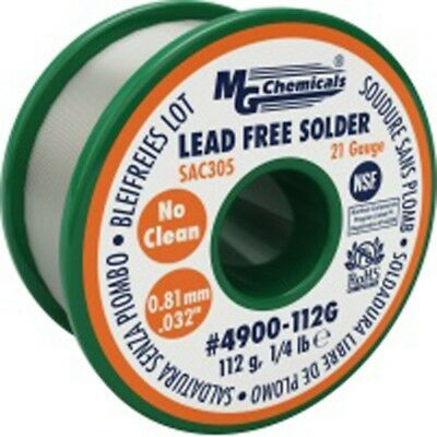 MG Chemicals Sac305, 0.81mm Dia, 96.3% Tin, 0.7% Copper and 3% Silver, Lead Free