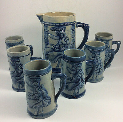 Antique Robinson clay co. Flat iron building stoneware pitcher & 6 mugs Akron OH