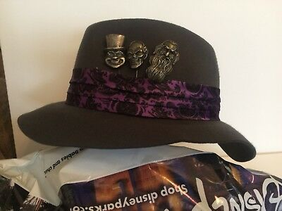 Disney Parks Haunted Mansion Fedora with Hat Pins Rare HTF Retired Fast Shipping