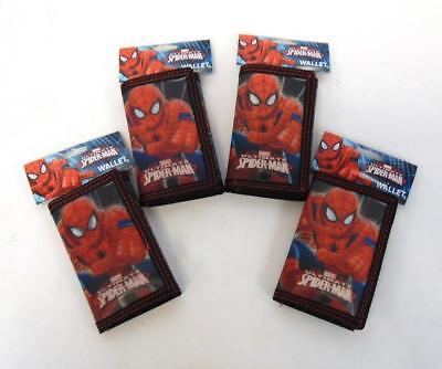 LOT OF 4 New MARVEL ULTIMATE SPIDERMAN Boys Red Black Holographic Trifold Wallet