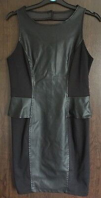 Oasis Ladies Black Faux Leather Panel Dress With Cut Out Back Detail Size 12