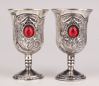2 Tibetan Silver Wine Cup Goblet Old Inlaid Ruby Handicraft Gift