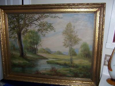 19c SIGNED H BOWMAN LANDSCAPE STREAM RIVER TREES FOREST OIL PAINTING ANTIQUE