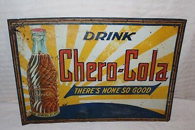 "Rare Vintage 1930's Chero-Cola Soda Pop Gas Station 20"" Embossed Metal Sign"