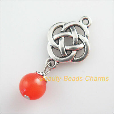 5 New Chinese Knot Charms Red Cat Eye Beads Pendants Tibetan Silver Tone 18x40mm